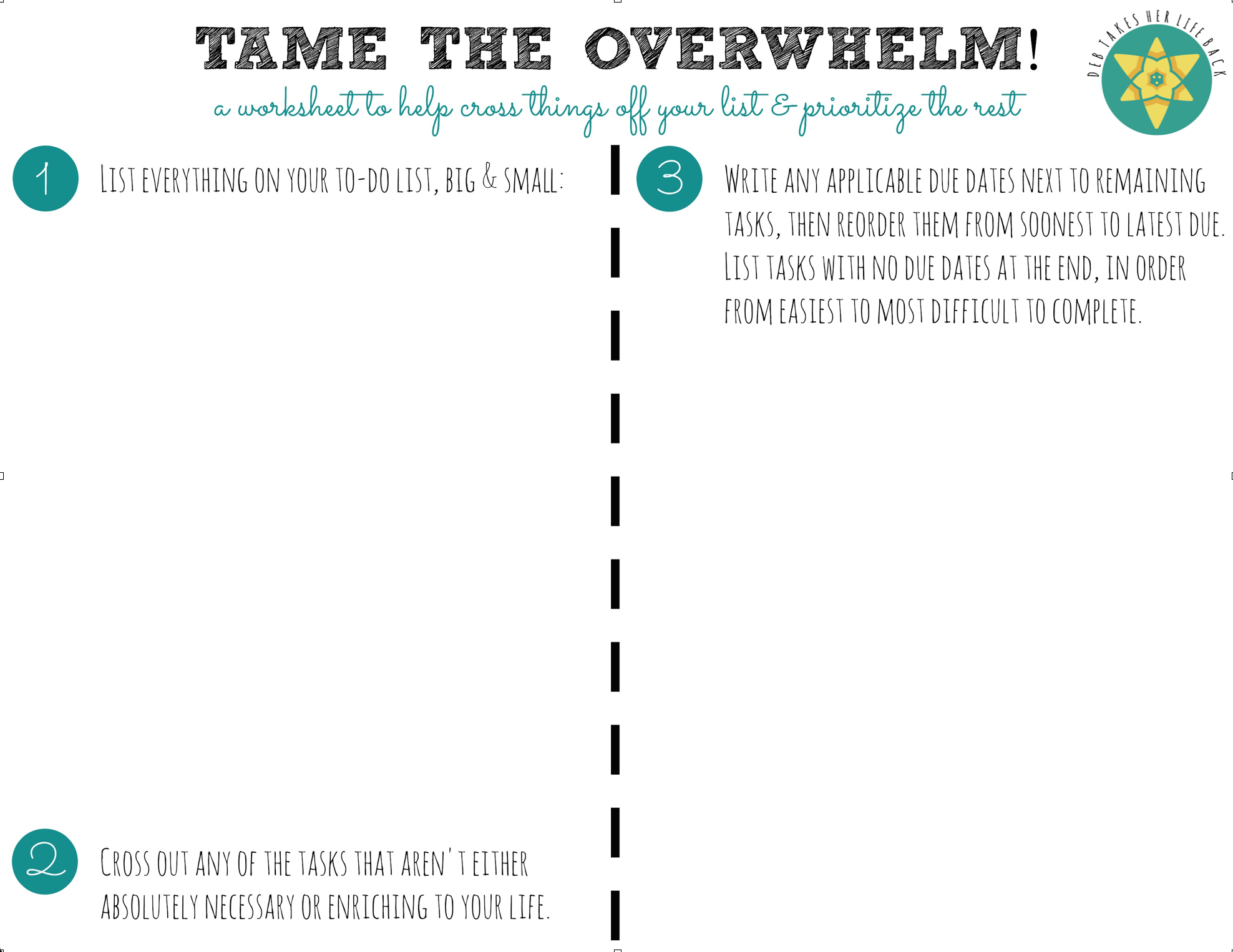 """""""Tame the Overwhelm!"""" Worksheet"""