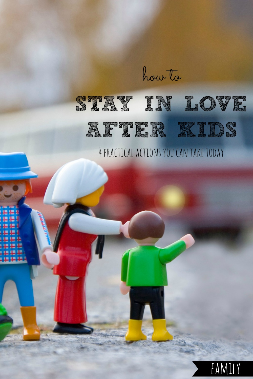 Ever feel like it's a struggle to stay in love after kids enter the picture? Here are four practical actions you can take TODAY to keep your romance alive. #stay #in #love #after #kids #marriage #marriages #married #relationship #relationships #husband #husbands #wife #wives #life #share #experiences #pillow #talk #touch #touching #avoid #distractions #live #moment