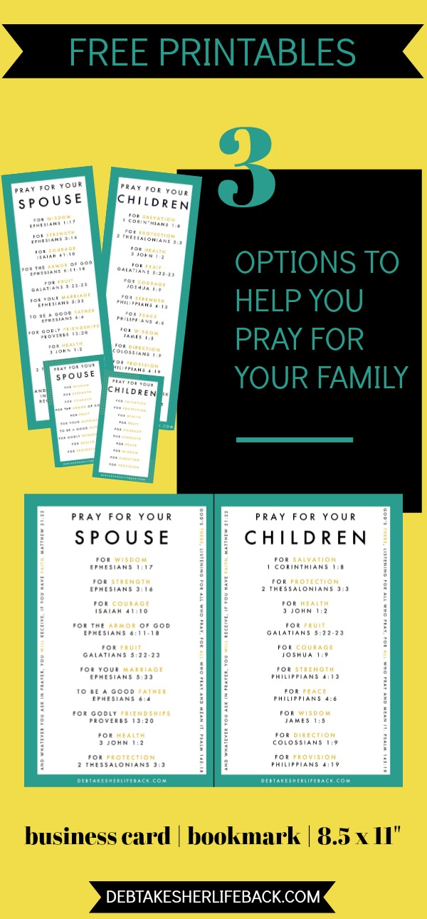 Want to more consistently pray for your family, but struggle to know what exactly to pray for them? Nab our free printables of 10 meaningful things to pray for your spouse, plus 10 to pray for your children! Choose from business card, bookmark, and 8.5 x 11